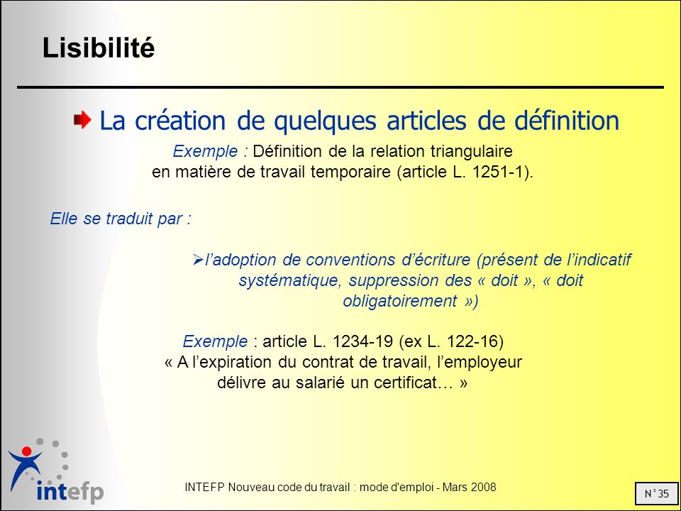 N°35 INTEFP Nouveau code du travail : mode d emploi - Mars 2008 Lisibilité La création de quelques articles de définition Exemple : Définition de la relation triangulaire en matière de travail temporaire (article L.