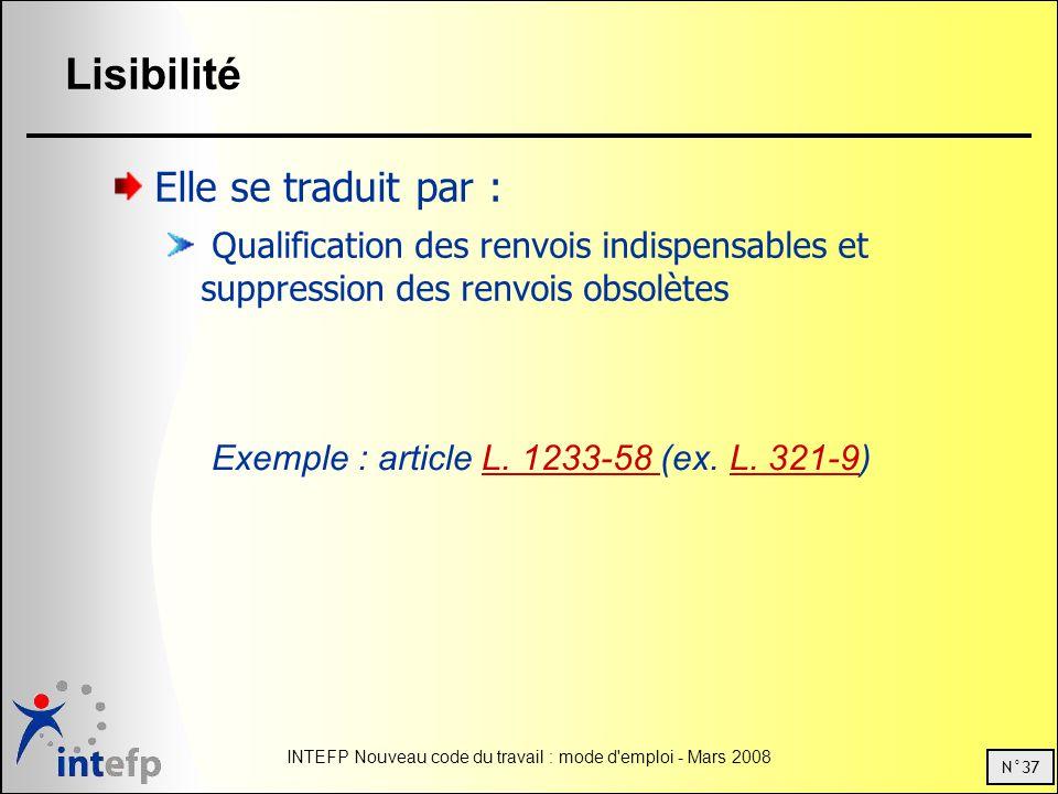 N°37 INTEFP Nouveau code du travail : mode d emploi - Mars 2008 Lisibilité Elle se traduit par : Qualification des renvois indispensables et suppression des renvois obsolètes Exemple : article L.