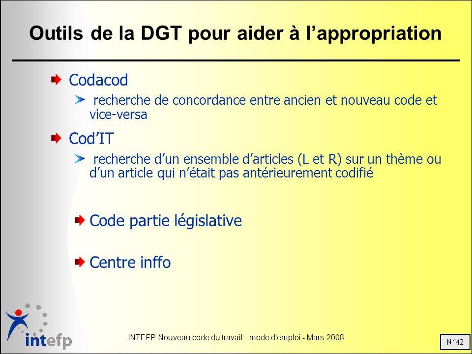 N°42 INTEFP Nouveau code du travail : mode d'emploi - Mars 2008 Outils de la DGT pour aider à lappropriation Codacod recherche de concordance entre an