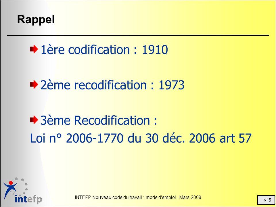 N°5 INTEFP Nouveau code du travail : mode d emploi - Mars 2008 Rappel 1ère codification : 1910 2ème recodification : 1973 3ème Recodification : Loi n° 2006-1770 du 30 déc.