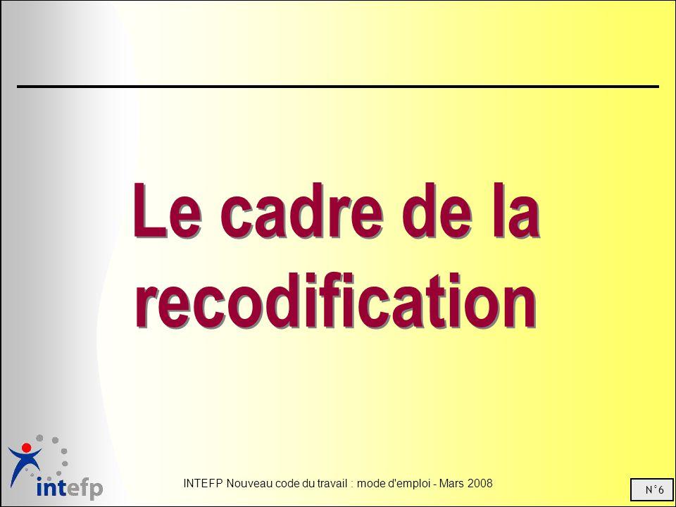 N°6 INTEFP Nouveau code du travail : mode d'emploi - Mars 2008 Le cadre de la recodification