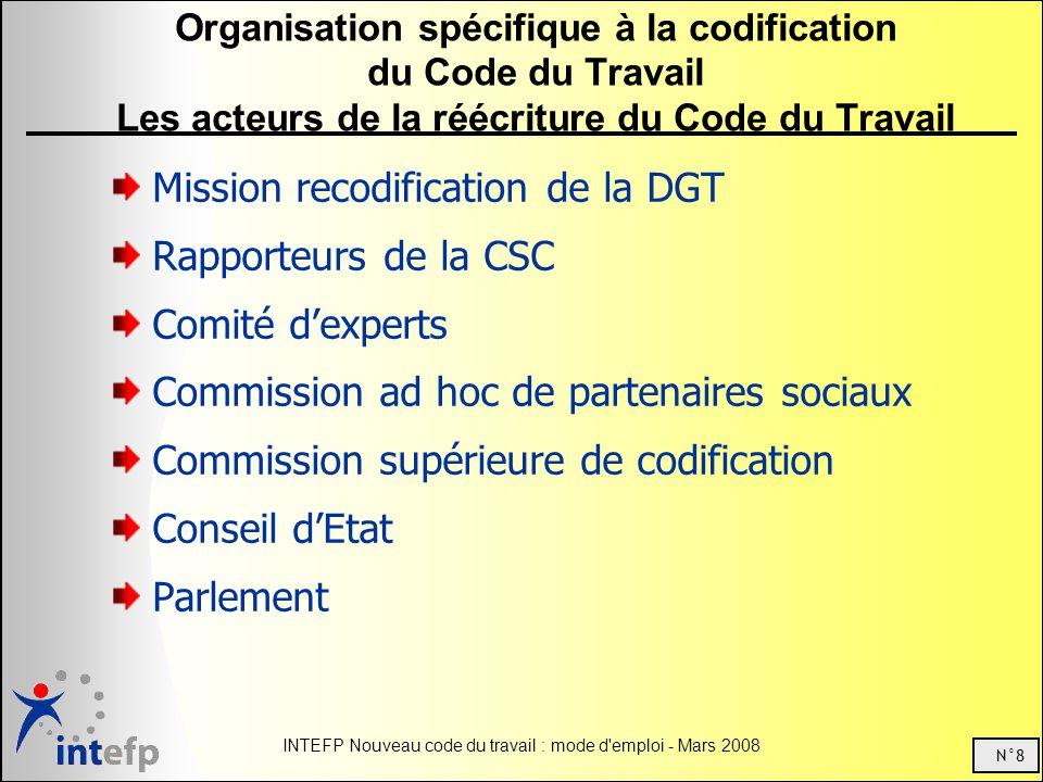 N°8 INTEFP Nouveau code du travail : mode d emploi - Mars 2008 Organisation spécifique à la codification du Code du Travail Les acteurs de la réécriture du Code du Travail Mission recodification de la DGT Rapporteurs de la CSC Comité dexperts Commission ad hoc de partenaires sociaux Commission supérieure de codification Conseil dEtat Parlement