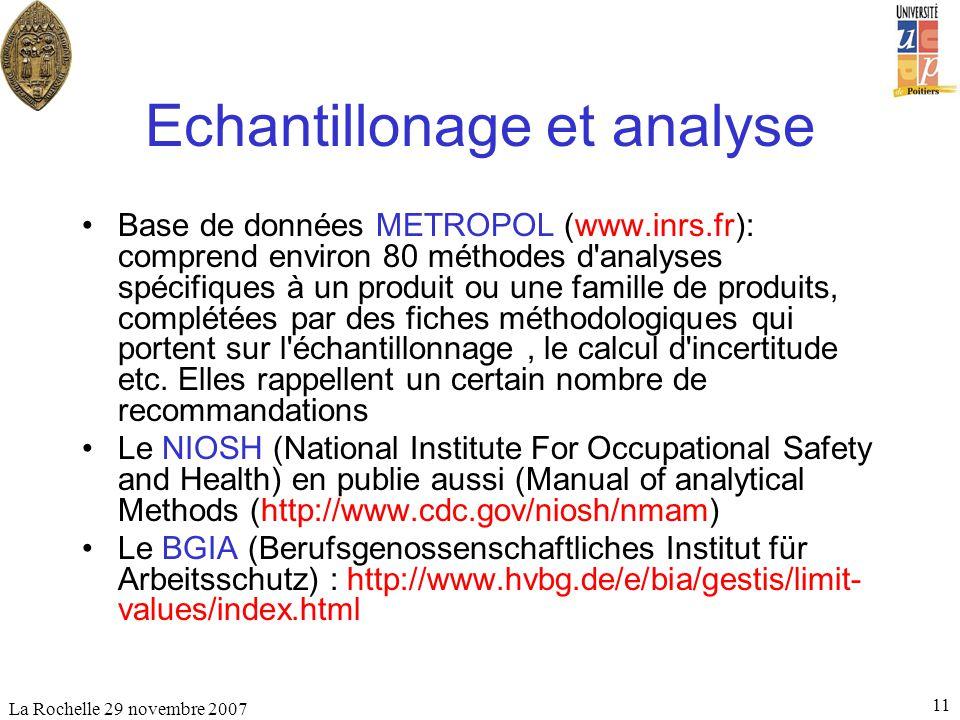 La Rochelle 29 novembre 2007 11 Echantillonage et analyse Base de données METROPOL (www.inrs.fr): comprend environ 80 méthodes d'analyses spécifiques