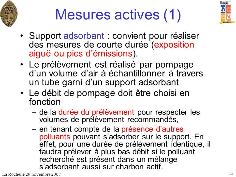 La Rochelle 29 novembre 2007 13 Mesures actives (1) Support adsorbant : convient pour réaliser des mesures de courte durée (exposition aiguë ou pics d