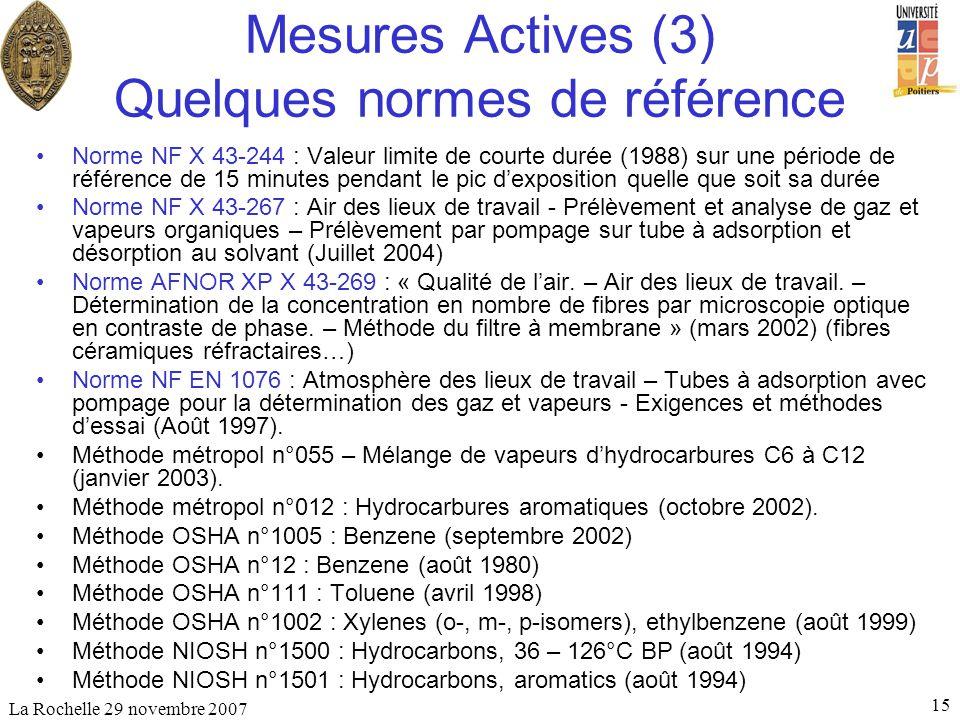 La Rochelle 29 novembre 2007 15 Mesures Actives (3) Quelques normes de référence Norme NF X 43-244 : Valeur limite de courte durée (1988) sur une péri