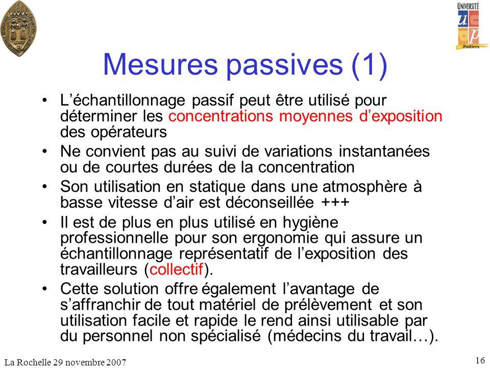 La Rochelle 29 novembre 2007 16 Mesures passives (1) Léchantillonnage passif peut être utilisé pour déterminer les concentrations moyennes dexposition