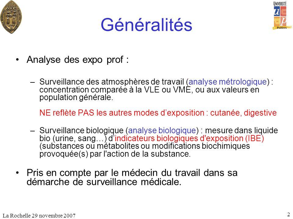 La Rochelle 29 novembre 2007 2 Généralités Analyse des expo prof : –Surveillance des atmosphères de travail (analyse métrologique) : concentration com