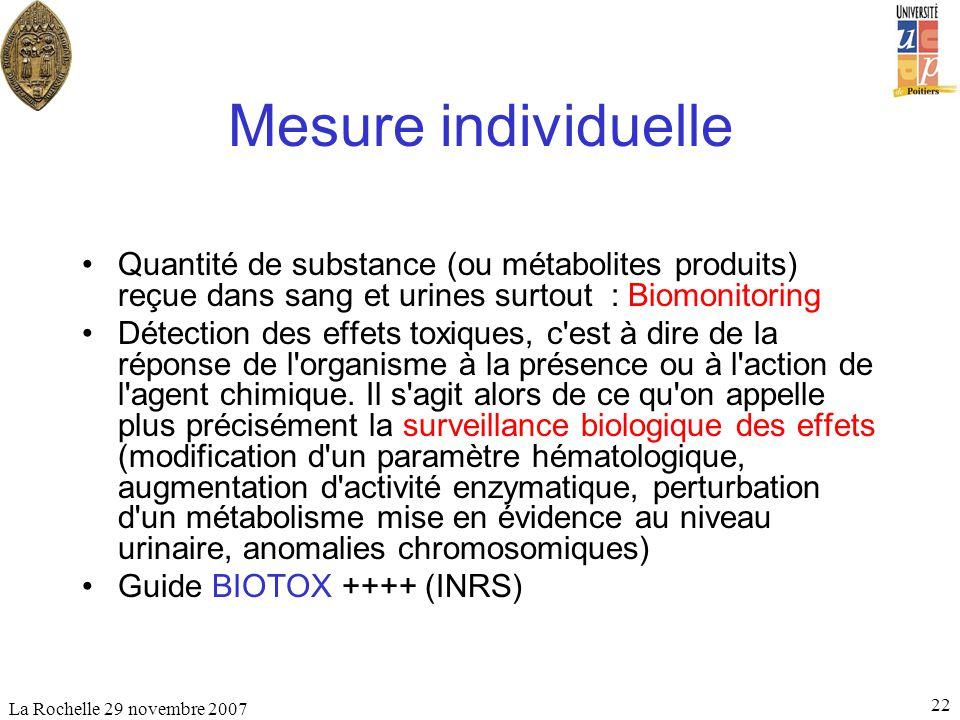 La Rochelle 29 novembre 2007 22 Mesure individuelle Quantité de substance (ou métabolites produits) reçue dans sang et urines surtout : Biomonitoring