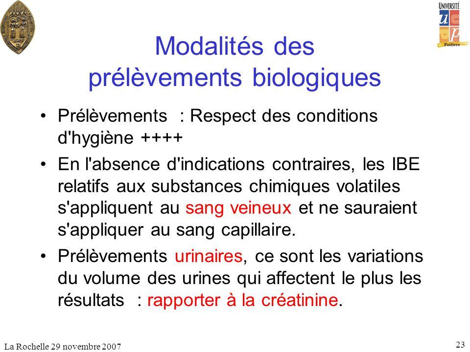 La Rochelle 29 novembre 2007 23 Modalités des prélèvements biologiques Prélèvements : Respect des conditions d'hygiène ++++ En l'absence d'indications