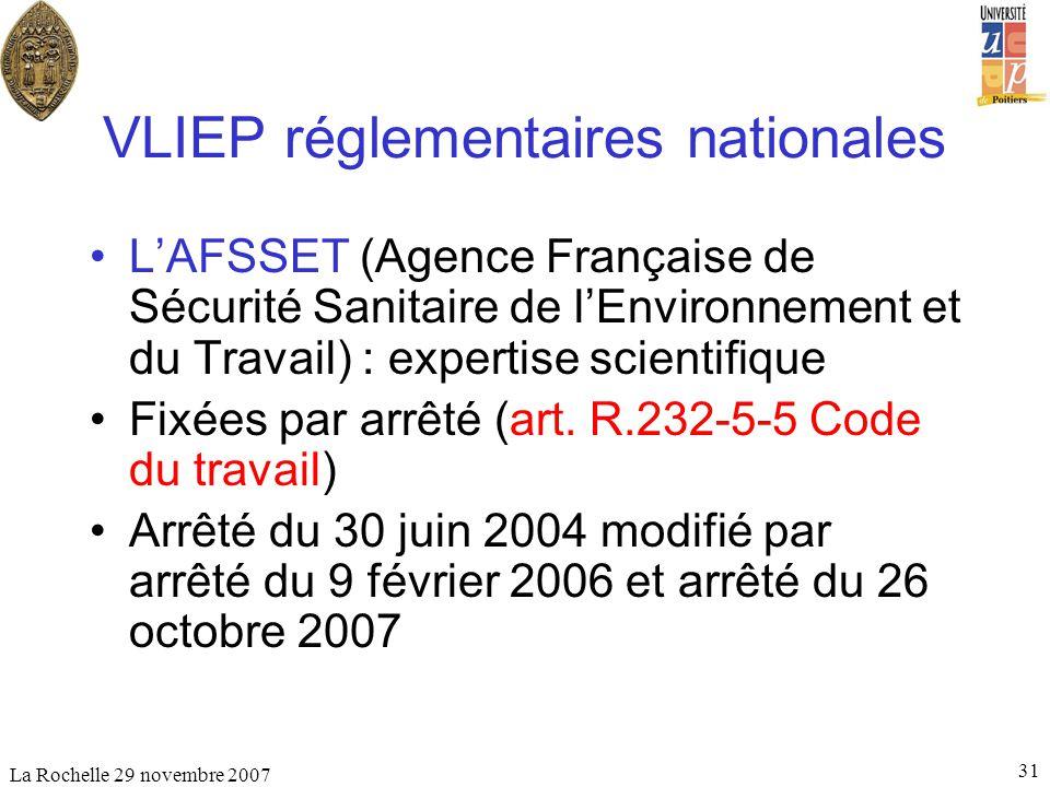 La Rochelle 29 novembre 2007 31 VLIEP réglementaires nationales LAFSSET (Agence Française de Sécurité Sanitaire de lEnvironnement et du Travail) : exp