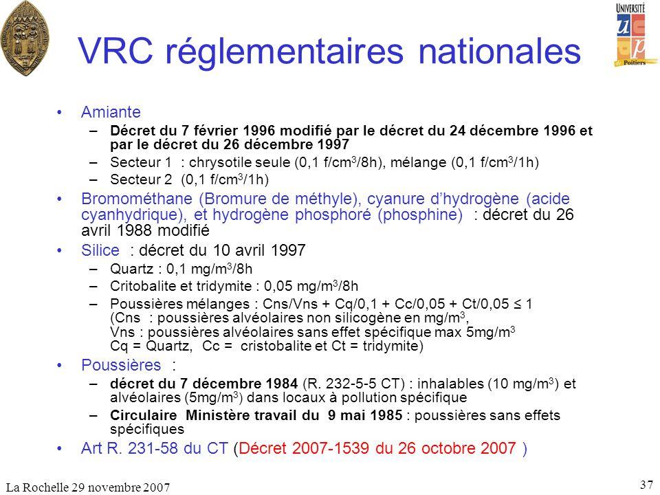 La Rochelle 29 novembre 2007 37 VRC réglementaires nationales Amiante –Décret du 7 février 1996 modifié par le décret du 24 décembre 1996 et par le dé