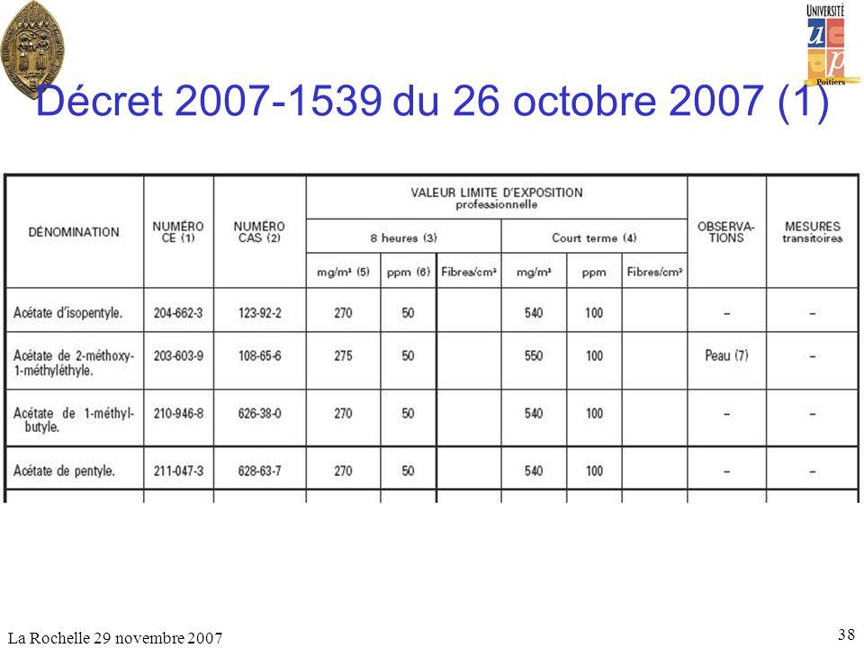 La Rochelle 29 novembre 2007 38 Décret 2007-1539 du 26 octobre 2007 (1)