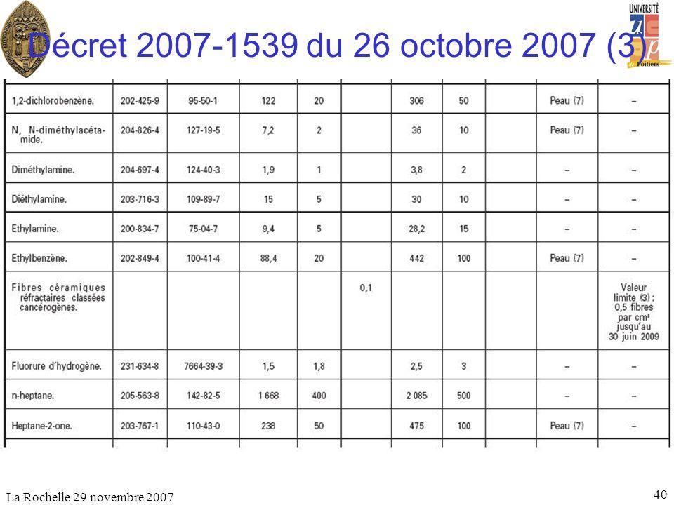La Rochelle 29 novembre 2007 40 Décret 2007-1539 du 26 octobre 2007 (3)