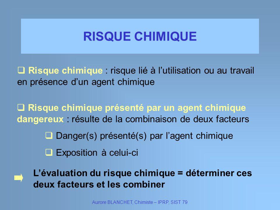 RISQUE CHIMIQUE Aurore BLANCHET, Chimiste – IPRP, SIST 79 Risque chimique : risque lié à lutilisation ou au travail en présence dun agent chimique Ris