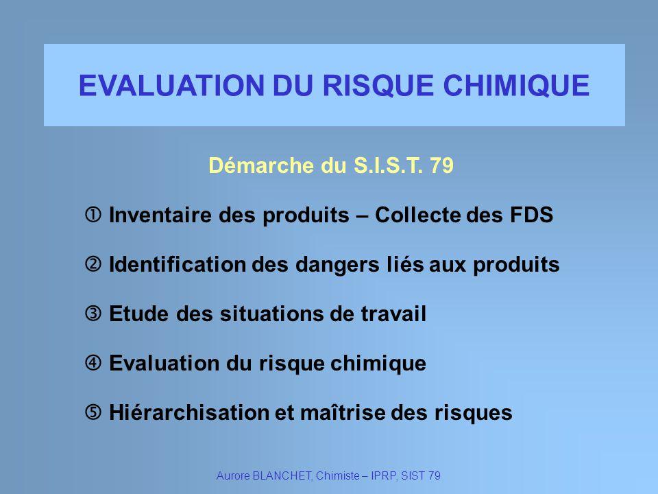 EVALUATION DU RISQUE CHIMIQUE Démarche du S.I.S.T. 79 Aurore BLANCHET, Chimiste – IPRP, SIST 79 Inventaire des produits – Collecte des FDS Identificat