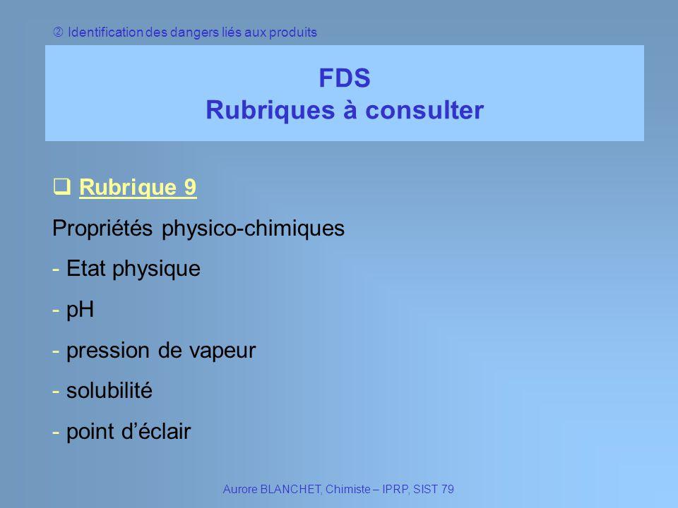 Identification des dangers liés aux produits FDS Rubriques à consulter Rubrique 9 Rubrique 9 Propriétés physico-chimiques - Etat physique Etat physiqu