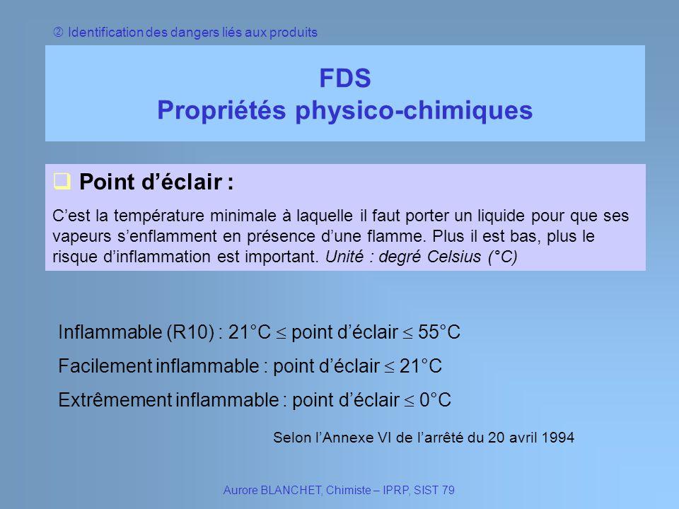Identification des dangers liés aux produits FDS Propriétés physico-chimiques Aurore BLANCHET, Chimiste – IPRP, SIST 79 Point déclair : Cest la tempér