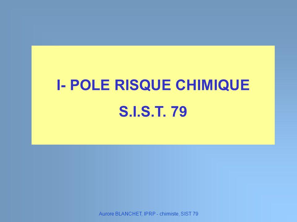 I- POLE RISQUE CHIMIQUE S.I.S.T. 79 Aurore BLANCHET, IPRP - chimiste, SIST 79