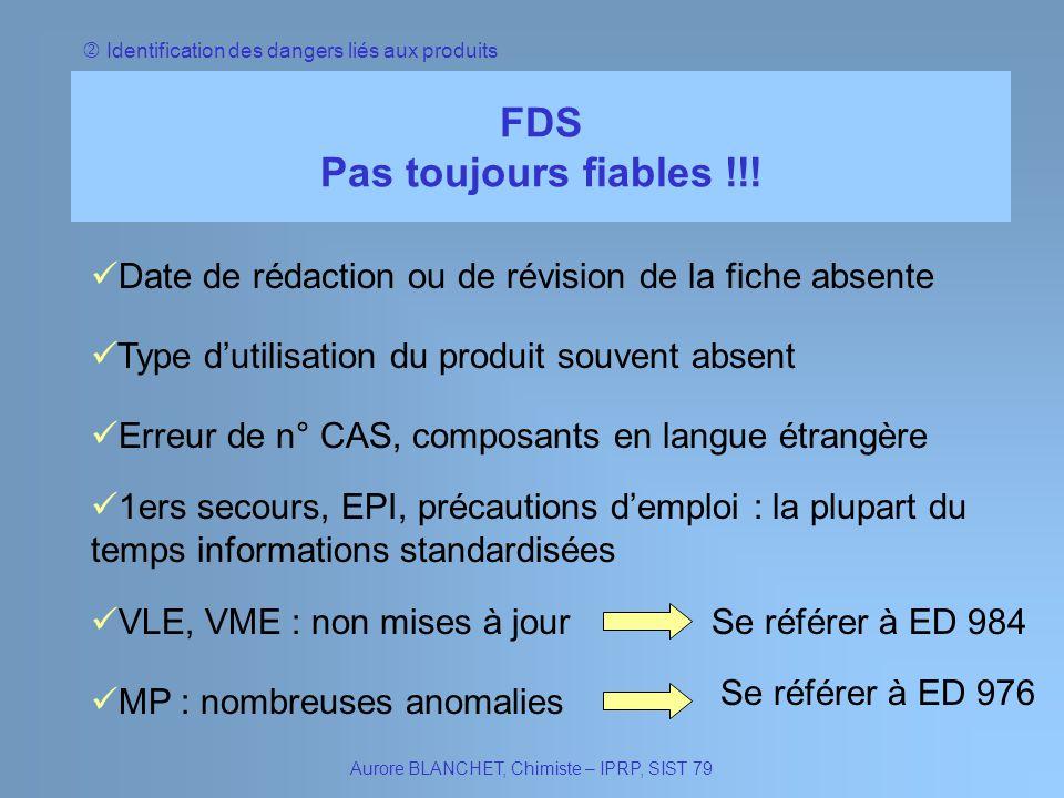 Identification des dangers liés aux produits FDS Pas toujours fiables !!! Aurore BLANCHET, Chimiste – IPRP, SIST 79 Date de rédaction ou de révision d