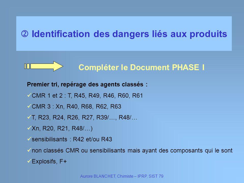 Identification des dangers liés aux produits Aurore BLANCHET, Chimiste – IPRP, SIST 79 Compléter le Document PHASE I Premier tri, repérage des agents