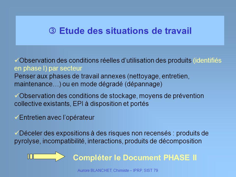 Etude des situations de travail Aurore BLANCHET, Chimiste – IPRP, SIST 79 Observation des conditions réelles dutilisation des produits (identifiés en