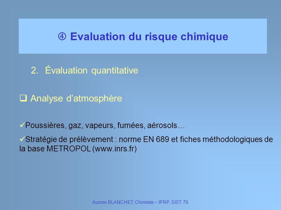 Evaluation du risque chimique Aurore BLANCHET, Chimiste – IPRP, SIST 79 2.Évaluation quantitative Stratégie de prélèvement : norme EN 689 et fiches mé