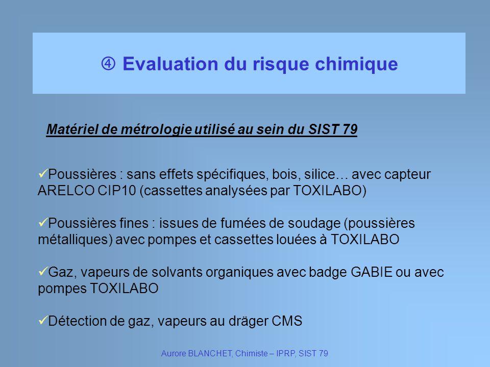 Evaluation du risque chimique Aurore BLANCHET, Chimiste – IPRP, SIST 79 Poussières fines : issues de fumées de soudage (poussières métalliques) avec p
