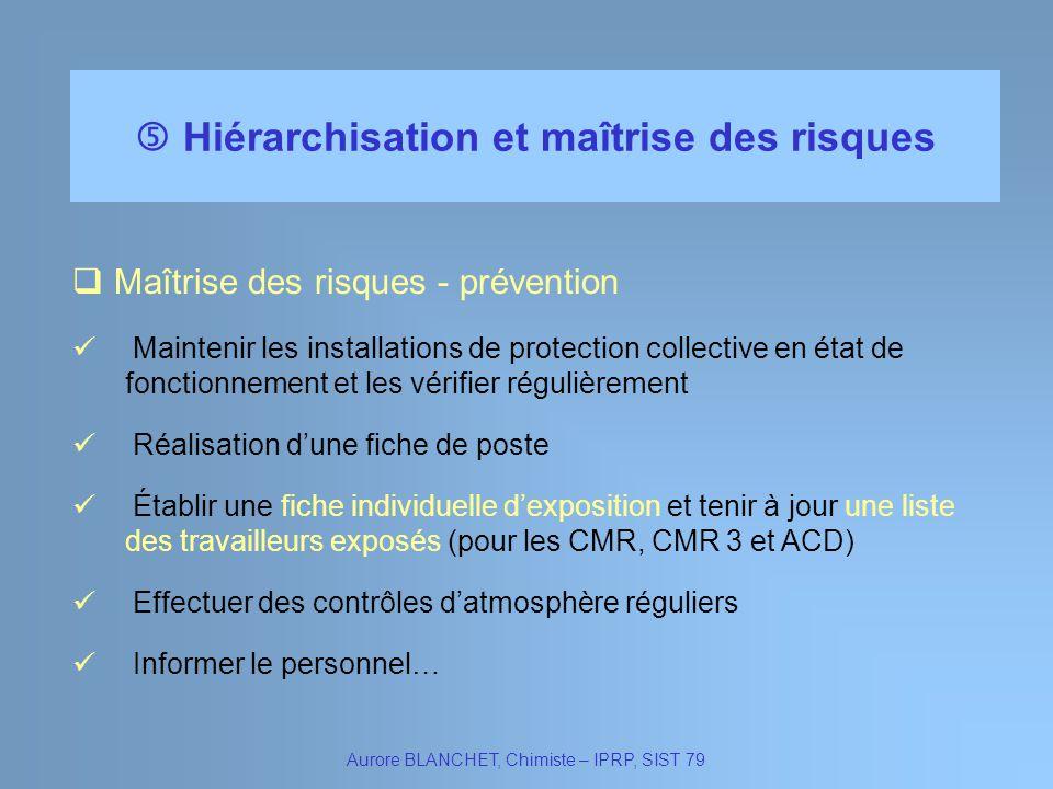 Hiérarchisation et maîtrise des risques Aurore BLANCHET, Chimiste – IPRP, SIST 79 Maîtrise des risques - prévention Maintenir les installations de pro