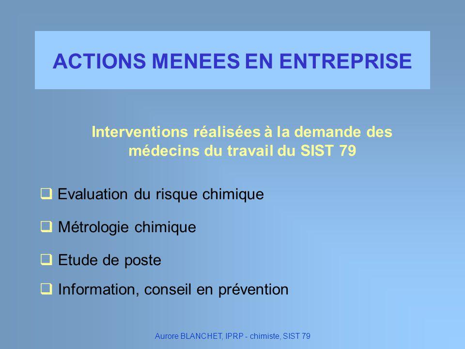 ACTIONS MENEES EN ENTREPRISE Evaluation du risque chimique Information, conseil en prévention Métrologie chimique Etude de poste Aurore BLANCHET, IPRP
