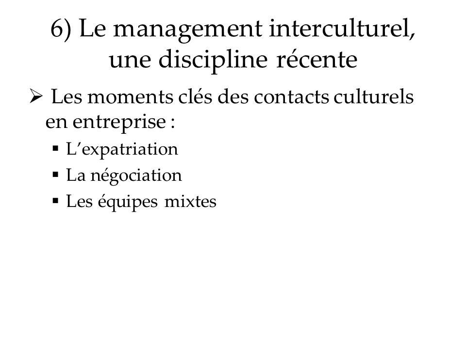 6) Le management interculturel, une discipline récente Les moments clés des contacts culturels en entreprise : Lexpatriation La négociation Les équipe