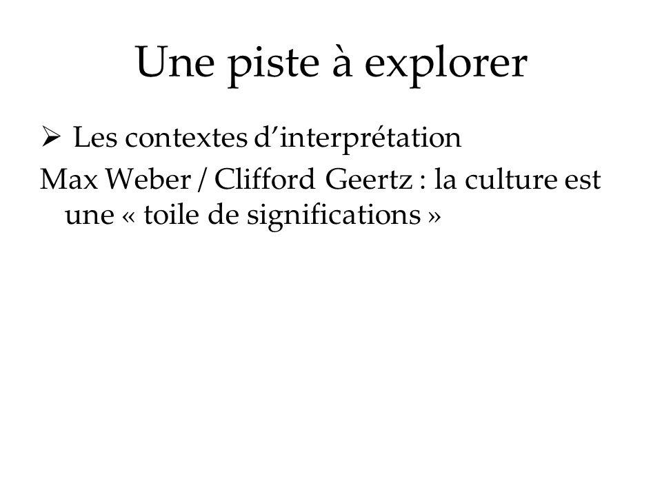 Une piste à explorer Les contextes dinterprétation Max Weber / Clifford Geertz : la culture est une « toile de significations »