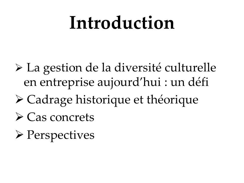 Introduction La gestion de la diversité culturelle en entreprise aujourdhui : un défi Cadrage historique et théorique Cas concrets Perspectives