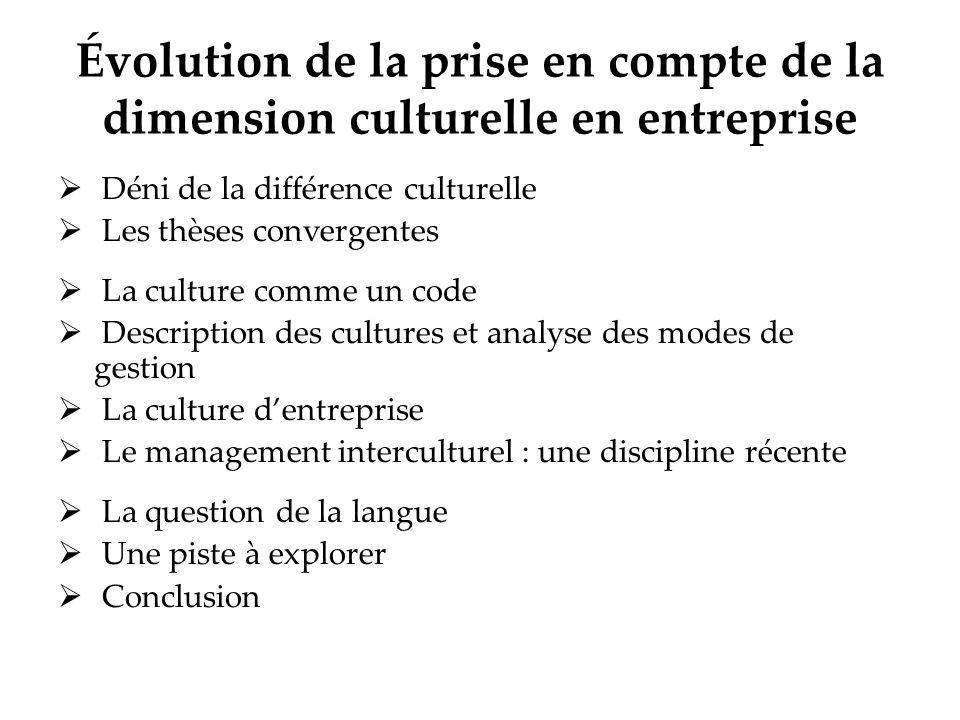 Évolution de la prise en compte de la dimension culturelle en entreprise Déni de la différence culturelle Les thèses convergentes La culture comme un