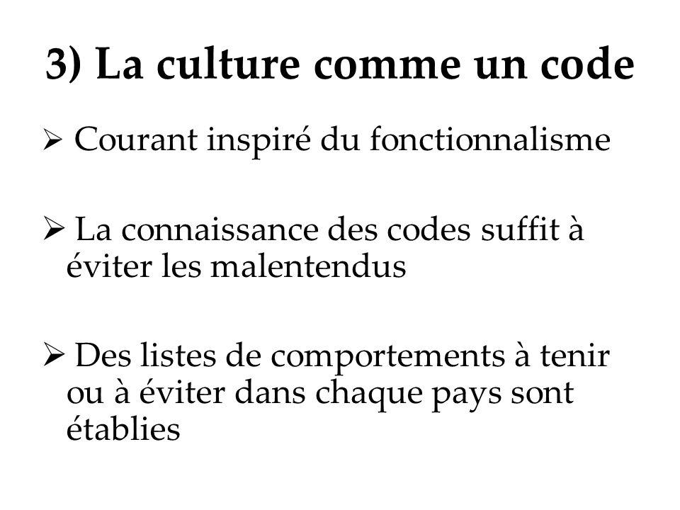 3) La culture comme un code Courant inspiré du fonctionnalisme La connaissance des codes suffit à éviter les malentendus Des listes de comportements à
