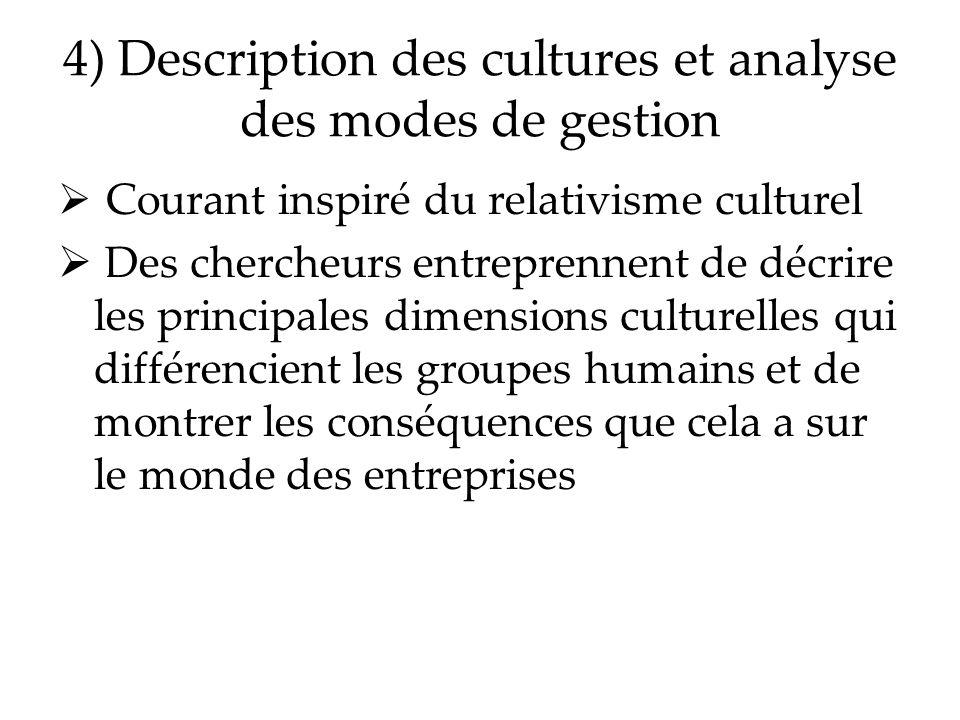 4) Description des cultures et analyse des modes de gestion Courant inspiré du relativisme culturel Des chercheurs entreprennent de décrire les princi