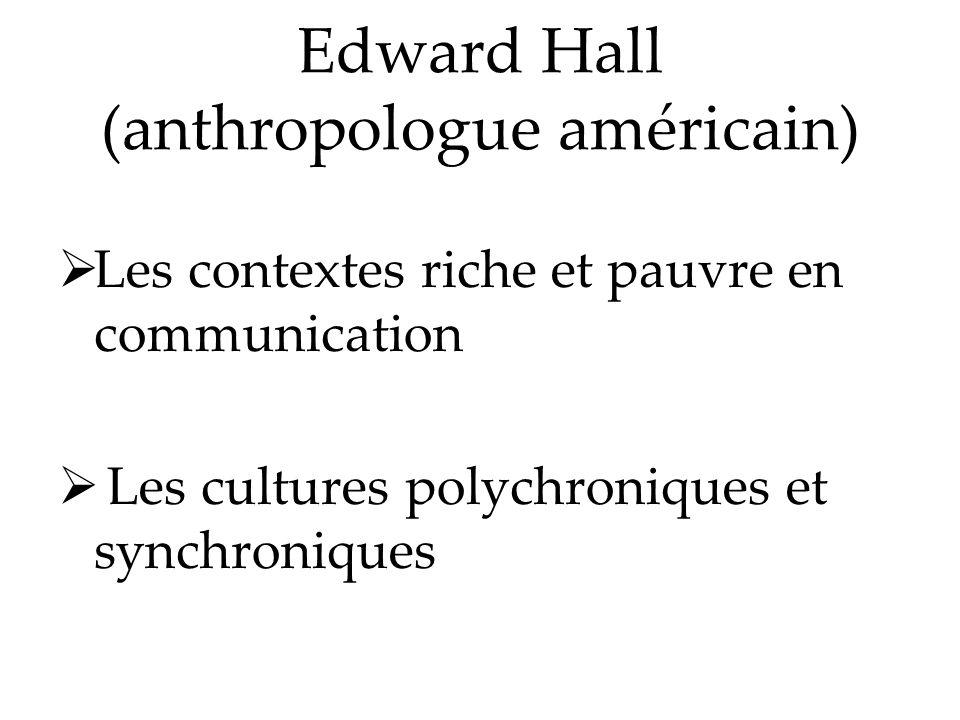 Edward Hall (anthropologue américain) Les contextes riche et pauvre en communication Les cultures polychroniques et synchroniques