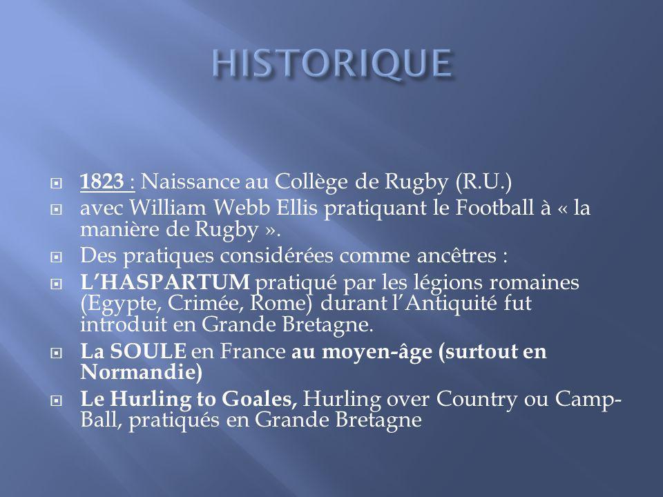 1823 : Naissance au Collège de Rugby (R.U.) avec William Webb Ellis pratiquant le Football à « la manière de Rugby ». Des pratiques considérées comme