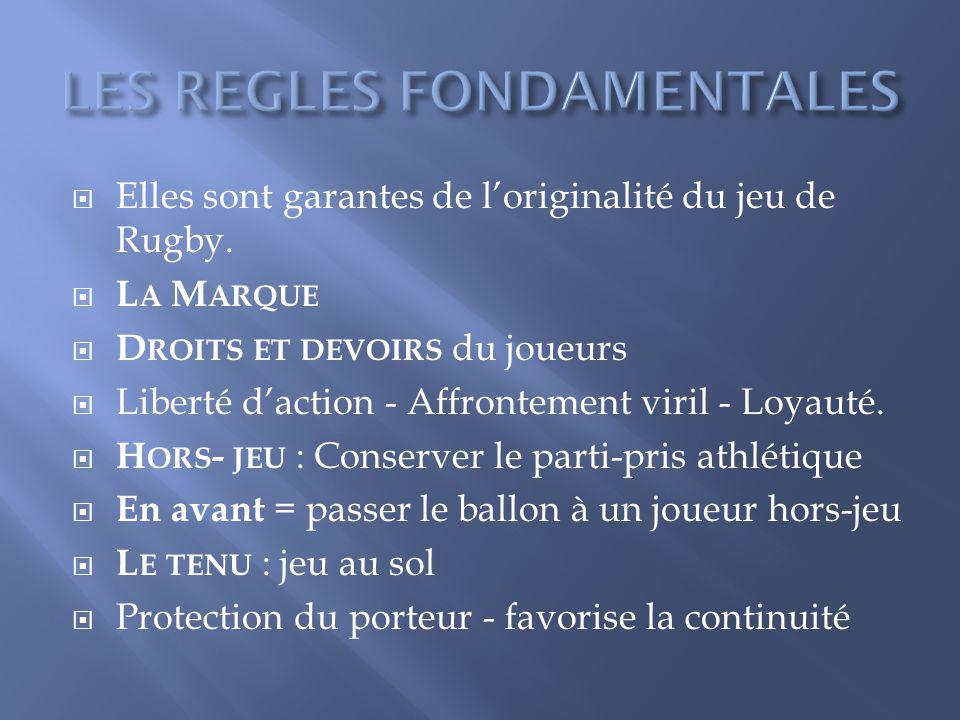 Elles sont garantes de loriginalité du jeu de Rugby. L A M ARQUE D ROITS ET DEVOIRS du joueurs Liberté daction - Affrontement viril - Loyauté. H ORS -
