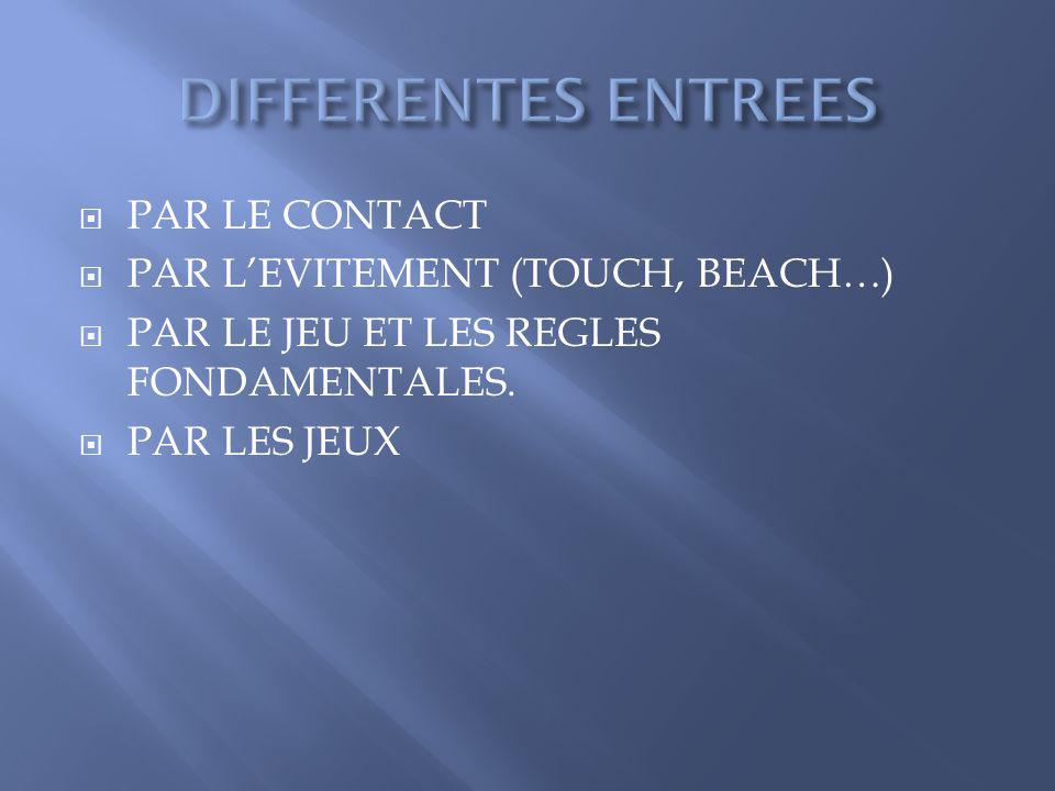 PAR LE CONTACT PAR LEVITEMENT (TOUCH, BEACH…) PAR LE JEU ET LES REGLES FONDAMENTALES. PAR LES JEUX