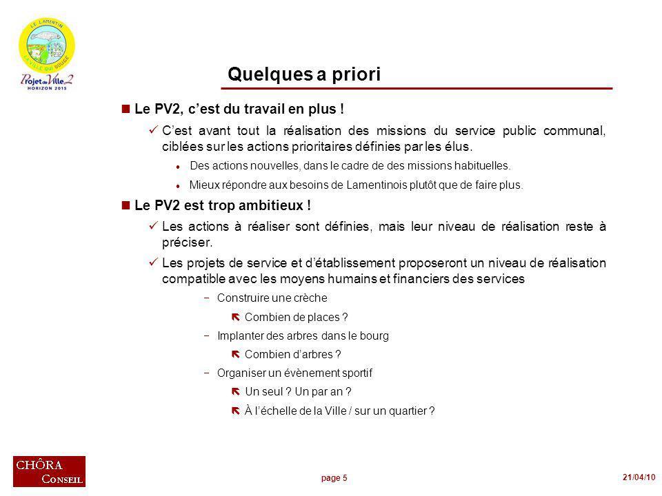 page 5 21/04/10 Quelques a priori nLe PV2, cest du travail en plus .