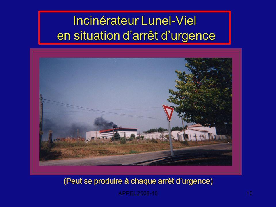 APPEL 2008-1010 Incinérateur Lunel-Viel en situation darrêt durgence (Peut se produire à chaque arrêt durgence)