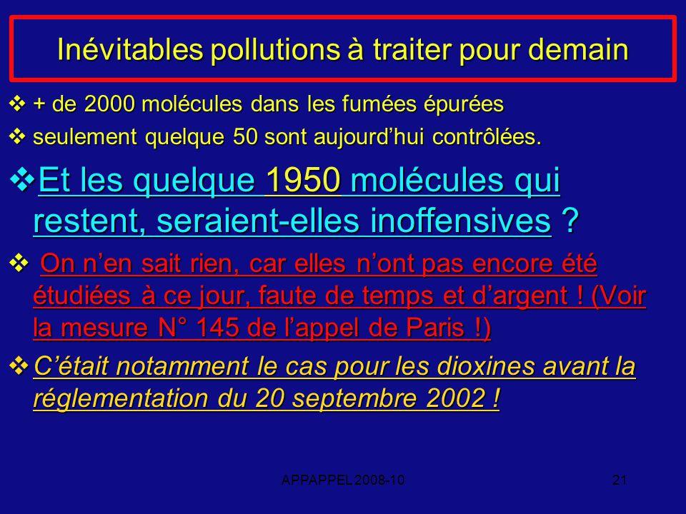 APPAPPEL 2008-1021 Inévitables pollutions à traiter pour demain + de 2000 molécules dans les fumées épurées + de 2000 molécules dans les fumées épurées seulement quelque 50 sont aujourdhui contrôlées.