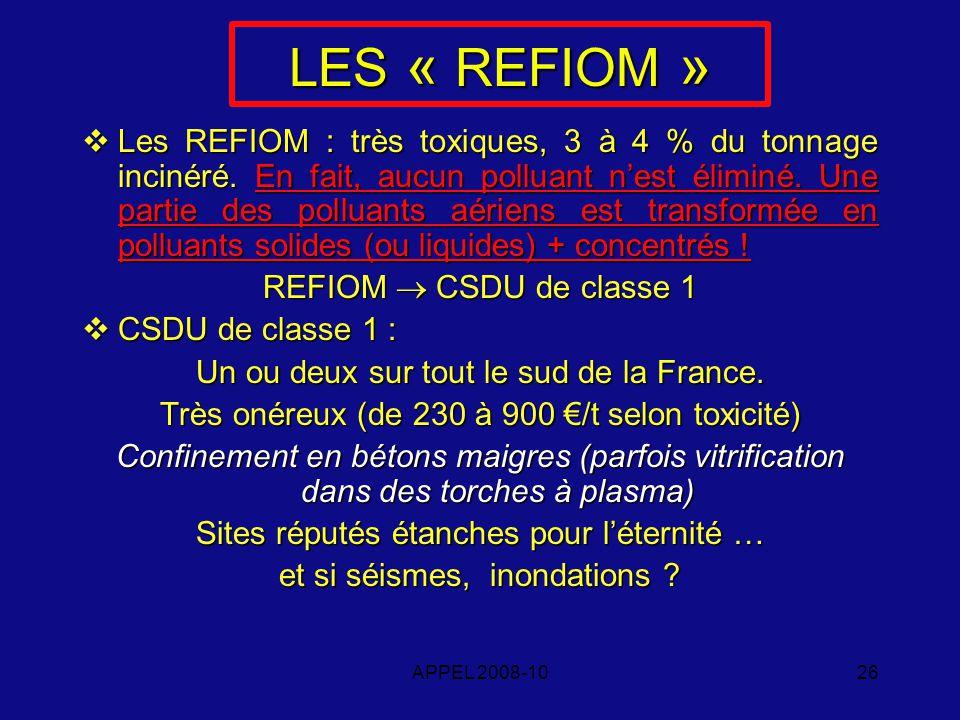 APPEL 2008-1026 LES « REFIOM » Les REFIOM : très toxiques, 3 à 4 % du tonnage incinéré.