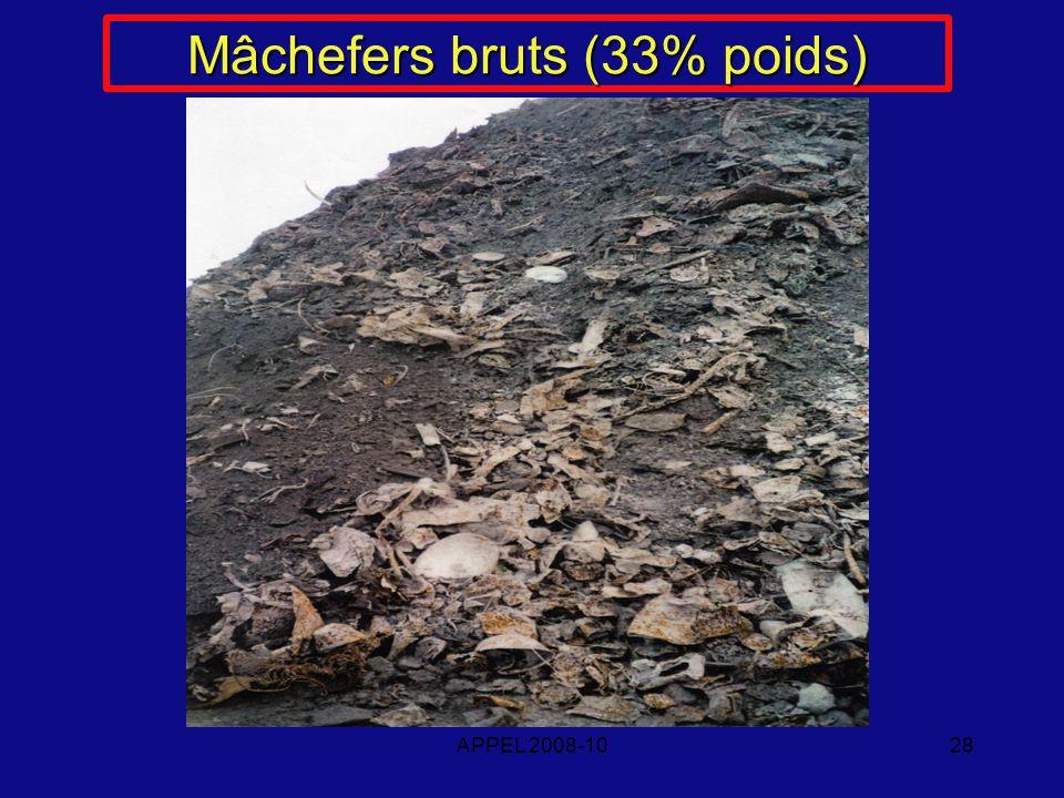 APPEL 2008-1028 Mâchefers bruts (33% poids)