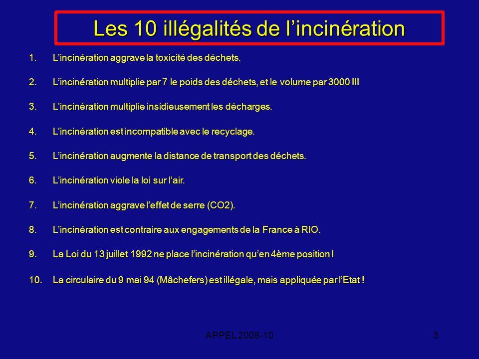 APPEL 2008-103 Les 10 illégalités de lincinération 1.Lincinération aggrave la toxicité des déchets.