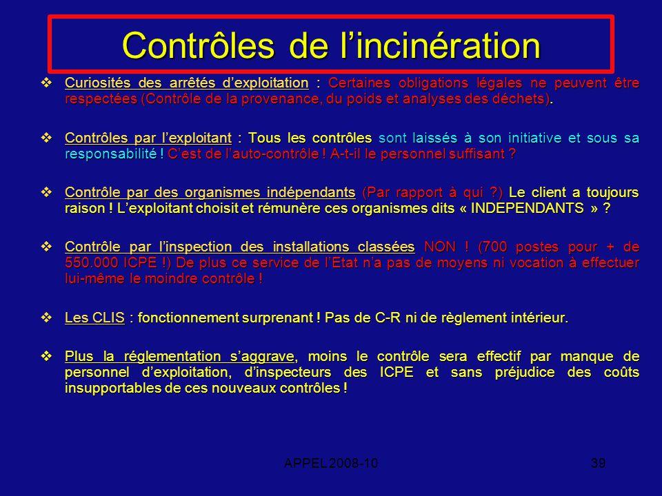 APPEL 2008-1039 Contrôles de lincinération Curiosités des arrêtés dexploitation : Certaines obligations légales ne peuvent être respectées (Contrôle de la provenance, du poids et analyses des déchets).