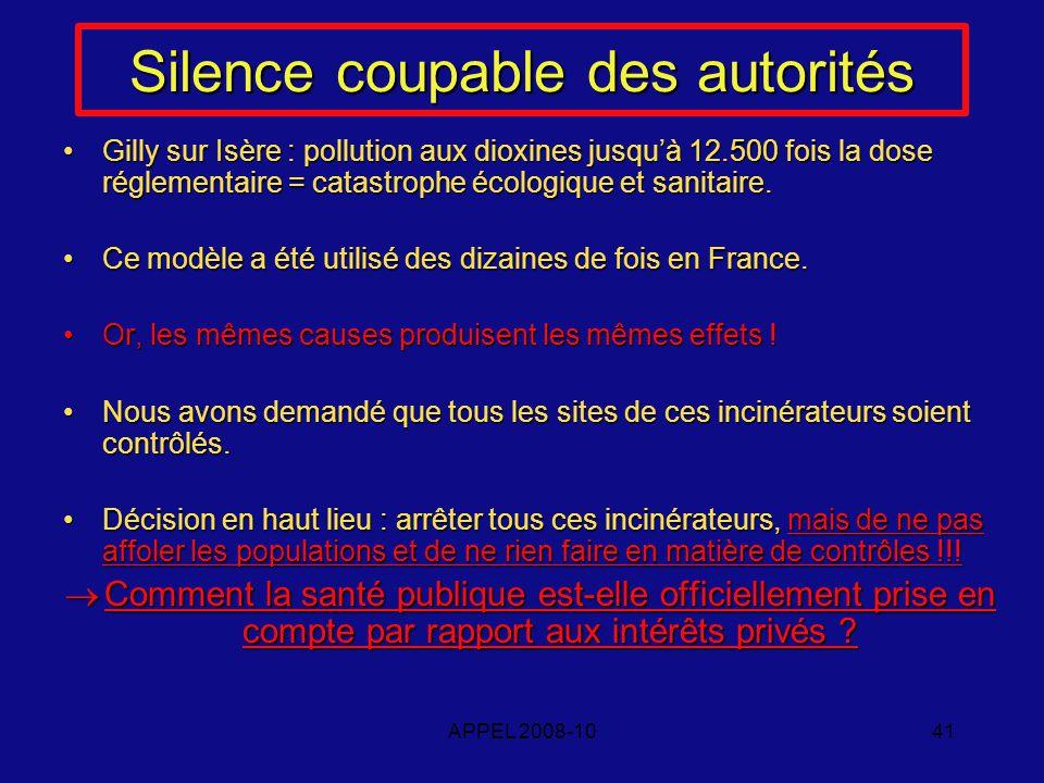 APPEL 2008-1041 Silence coupable des autorités Gilly sur Isère : pollution aux dioxines jusquà 12.500 fois la dose réglementaire = catastrophe écologique et sanitaire.Gilly sur Isère : pollution aux dioxines jusquà 12.500 fois la dose réglementaire = catastrophe écologique et sanitaire.
