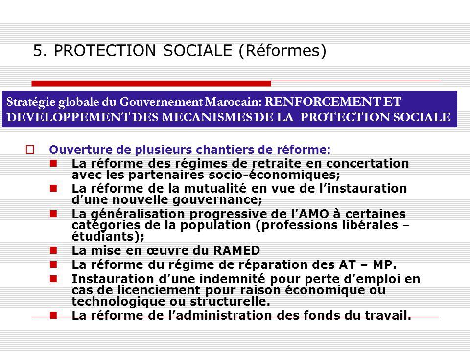 Ouverture de plusieurs chantiers de réforme: La réforme des régimes de retraite en concertation avec les partenaires socio-économiques; La réforme de