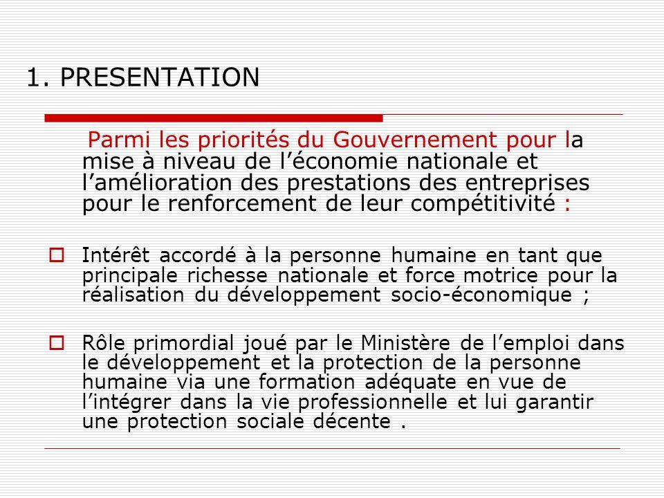 1. PRESENTATION Parmi les priorités du Gouvernement pour la mise à niveau de léconomie nationale et lamélioration des prestations des entreprises pour