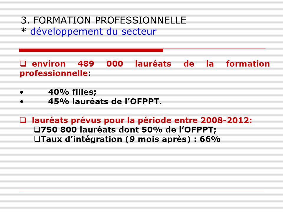 3. FORMATION PROFESSIONNELLE * développement du secteur environ 489 000 lauréats de la formation professionnelle: 40% filles; 45% lauréats de lOFPPT.